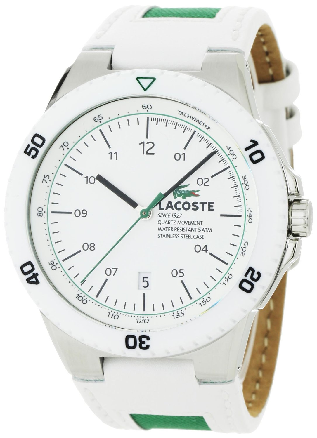 0f3772dfd66 Get Quotations · Lacoste Men s 2010563 Toronto White Resin Bezel and Dial  Watch