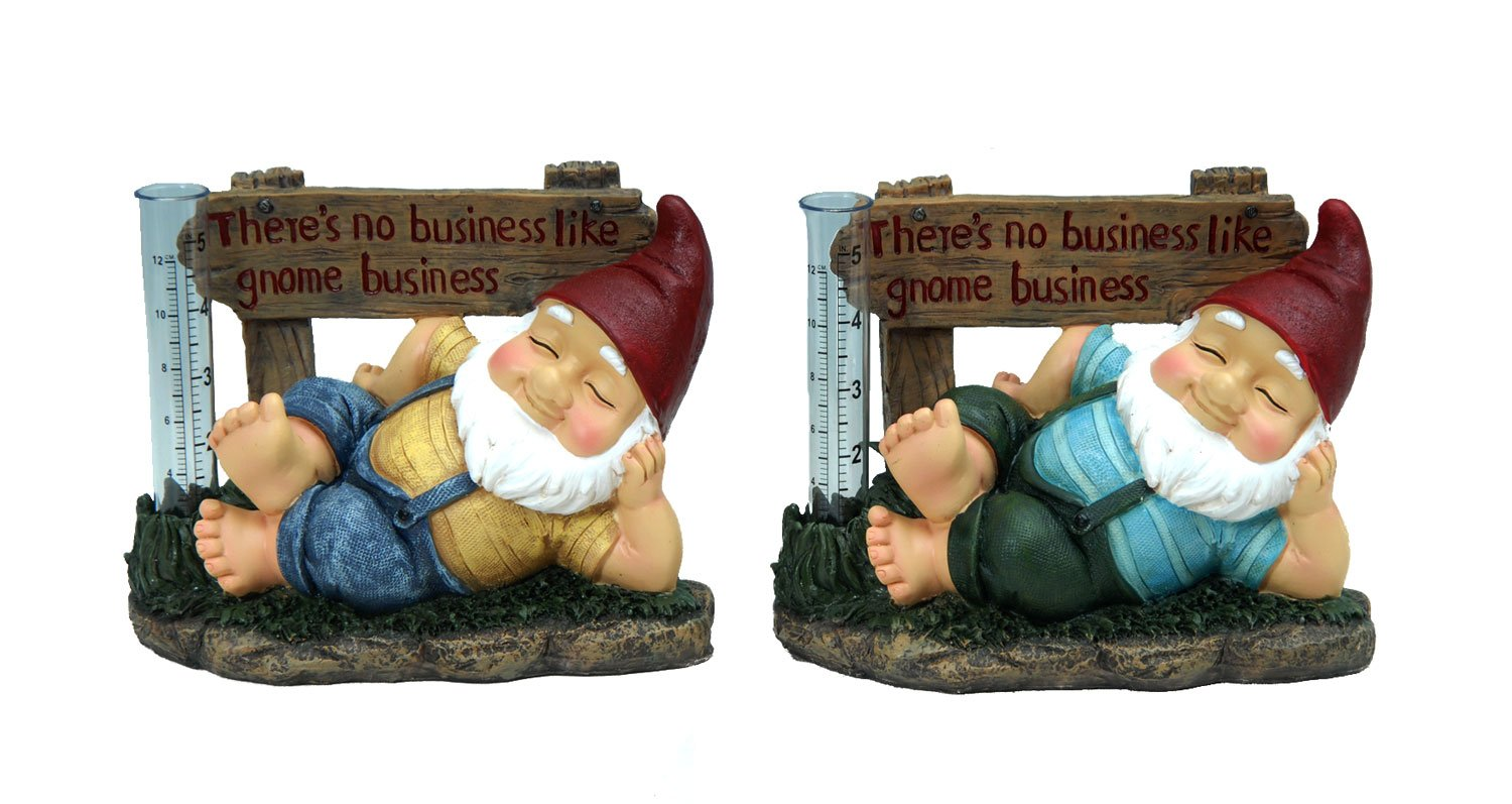 "Mayrich One Decorative Garden Gnome Rain water Gauge measurement device - Assorted Colors 6.4"" H x 8"" W"