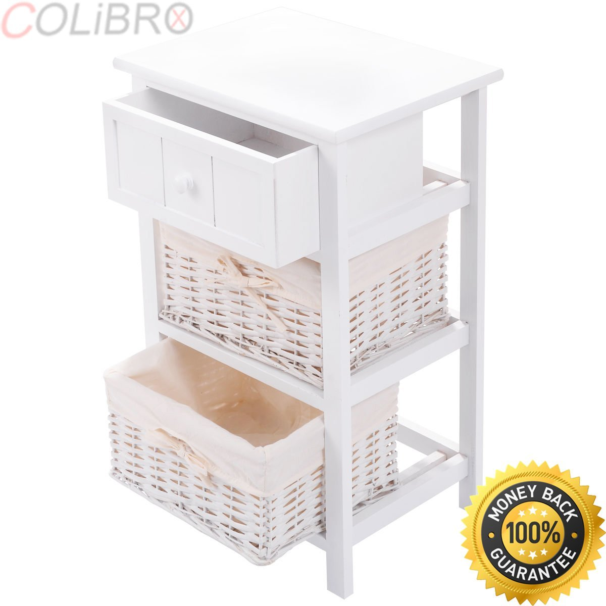 COLIBROX--2 PCS Night Stand 3 Layer 1 Drawer Bedside End Table Organizer Bedroom Wood New․ night stand 3 layer 1 drawer bedside end table organizer bedroom wood w 2 basket․curved nightstand end table․