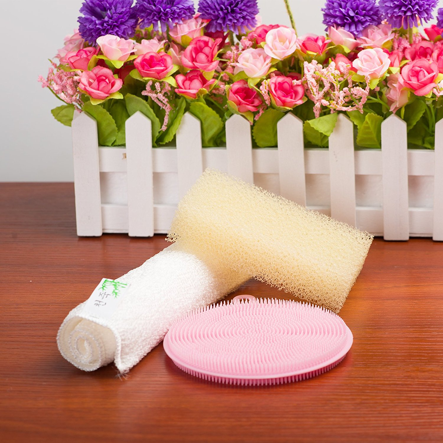 Food-Grade Silicone Non Stick Dishwashing Brush Kitchen Dish Cleaning, Pink Silicone Dish Scrubber, PVC Loofah Structure Dish Wash Sponge, Bamboo Fiber Dishcloth for Kitchen Cleaning(Combination Set)