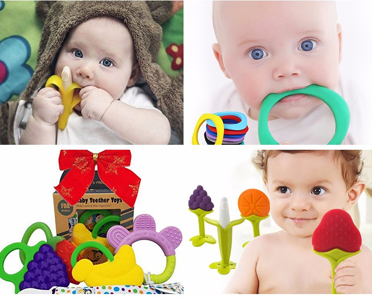 Food Grade Funny Baby Hanburger Teether Silicone Pendant Teether