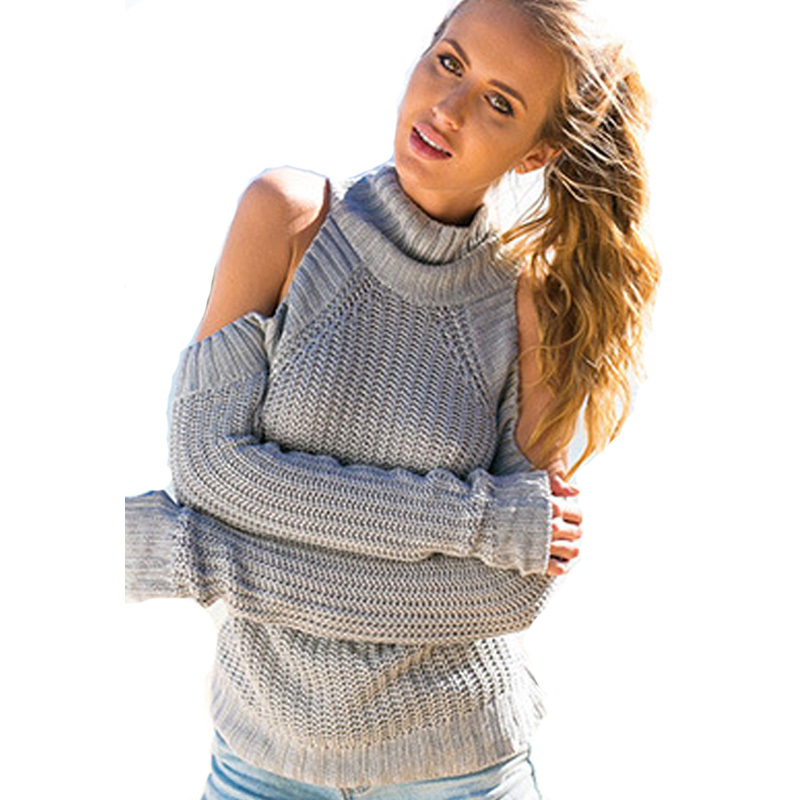 Women pullover autumn winter sweater 2015 women brand knitwear jumpers pull femme off shoulder warm turtleneck Knitted cardigans