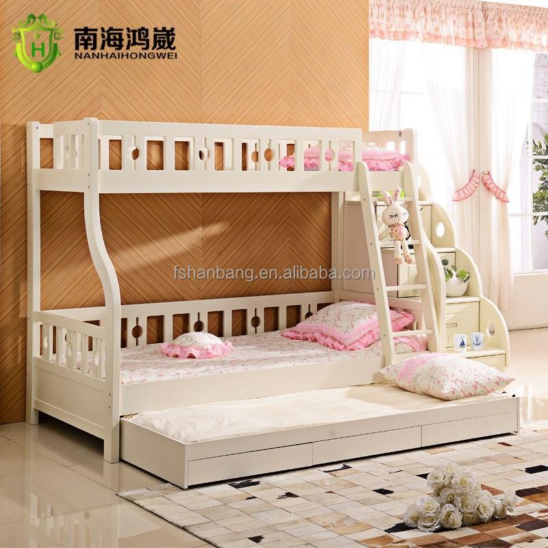3 nivel niños sofá cama litera de madera mdf muebles con cajones ...