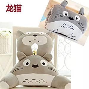 3PCS Set Soft Waist Back Lumbar Pillow Cushion+U Neck Pillow+Winter Hand Warmer Cute Cartoon Animal Design Warm Plush Cotton Cushion for Home Office Decoration(Grey Totoro)
