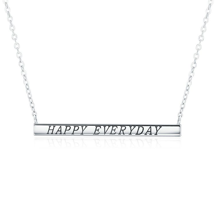 European Fashion Meaningful 925 Sterling Silver Happy Everyday Letter Engraved Necklace
