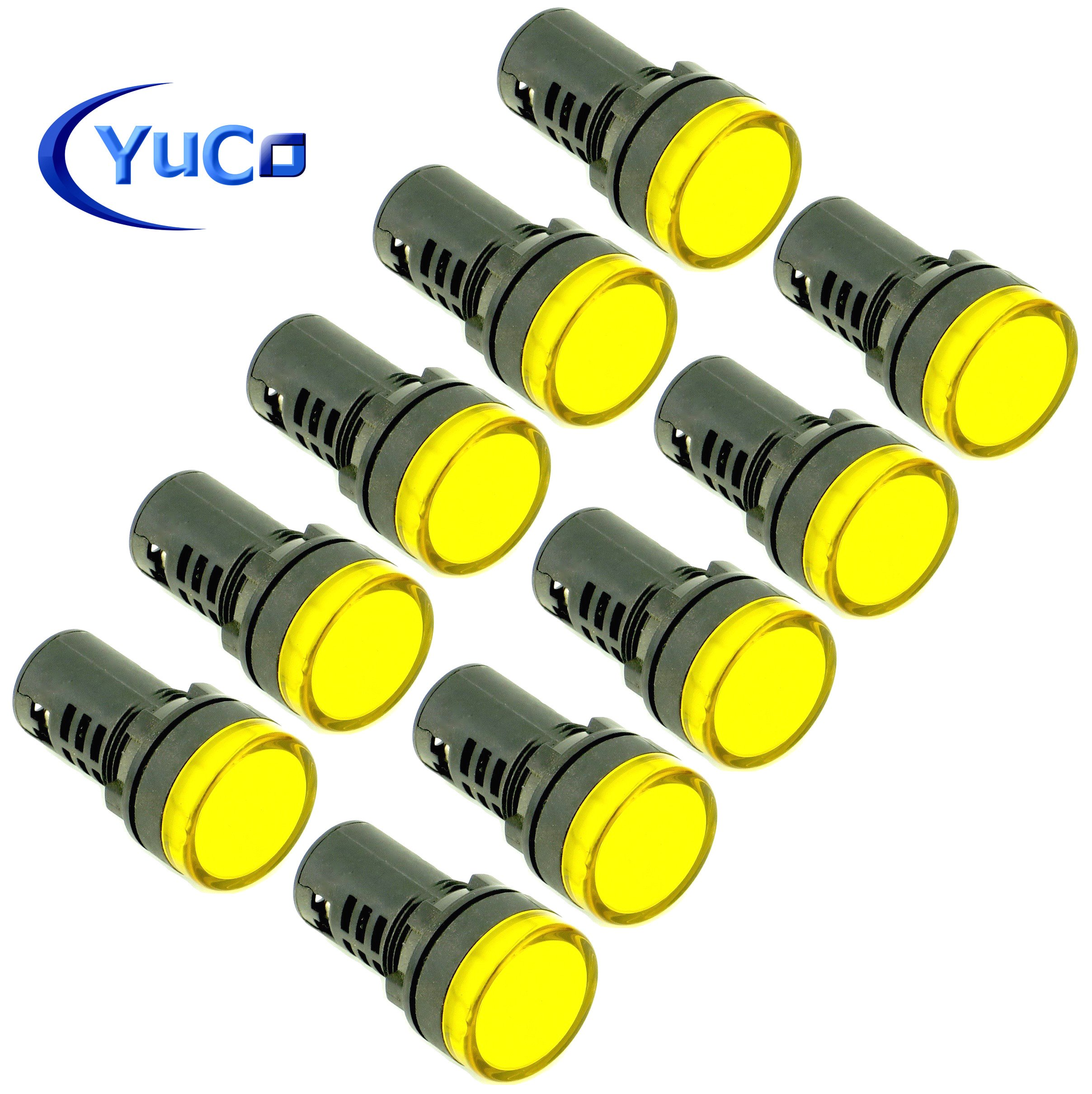 About 2 Pcs Ac 220v Electrical Circuit Green Led Indicator Pilot Light