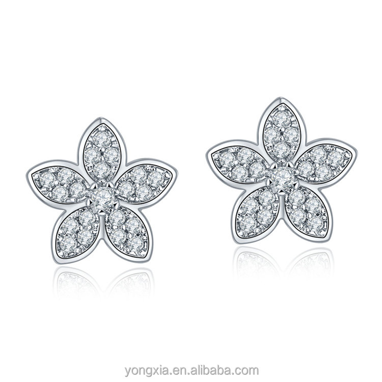 Newest design cubic zirconia cz high quality silver big star earrings