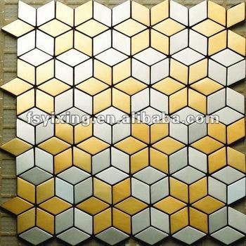 Rhombus Blend Cube Golden Stainless Steel Kitchen Wall