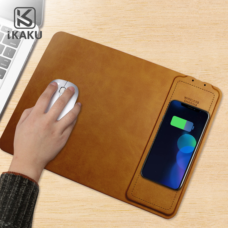 KAKU 10w qi wireless charger charge leather mouse mat quick charging mouse pad фото