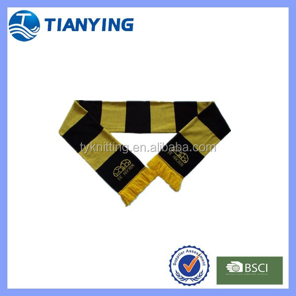 soccer knitted fan scarf with yellow and black colors