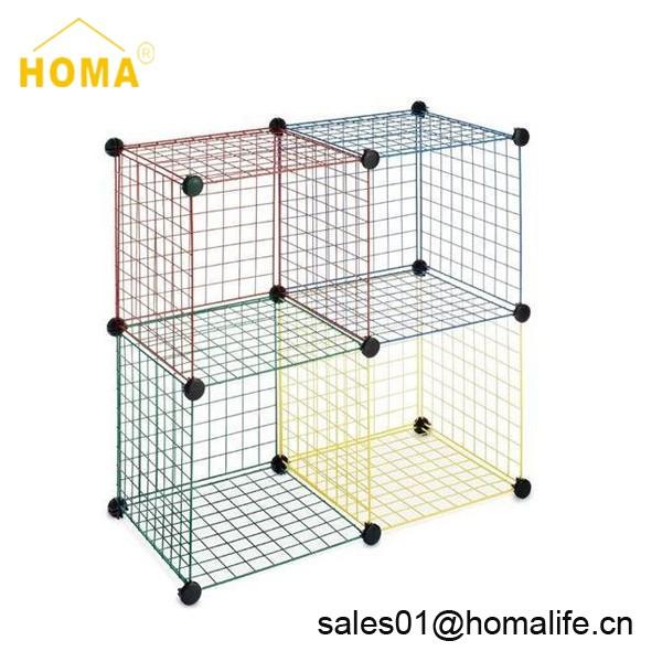 Grid Four Modular Mesh Wire Storage Cubes, White