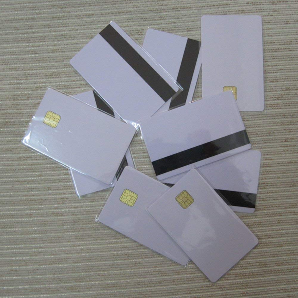 Ahongem (20pcs) Blank SLE4442 Chip Contact Smart Card ISO 7816 PVC CR80 Standard Size FM4442 Compatible SLE5542 with HICO Magnetic Strip Secure IC Card