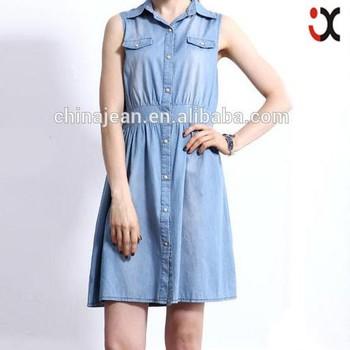 20b5221130 new summer korean style casual lady denim dress women sleeveless stretch  waisted jean mini dress (