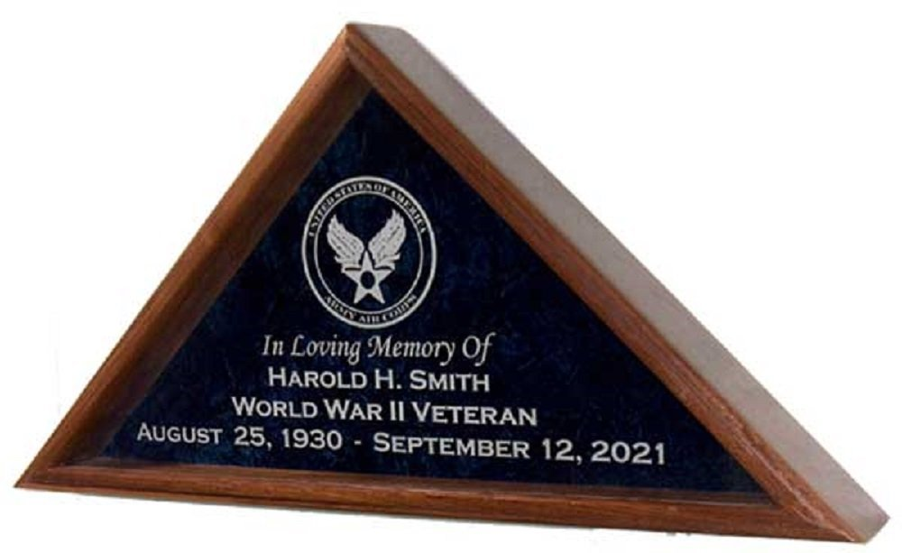 All American Gifts Military Veteran Funeral Flag Display Case w/Military Emblem - INCLUDES 4 LINES OF TEXT PERSONALIZATION! - for 5'x9.5' coffin/casket flag - Solid Walnut wood (Army Emblem)