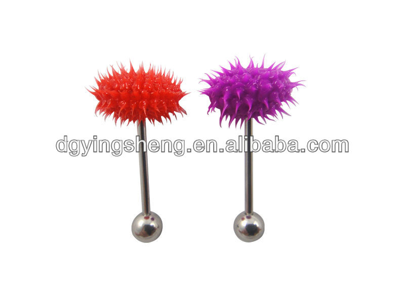 Silicone tongue piercing Koosh ball tongue rings free sample
