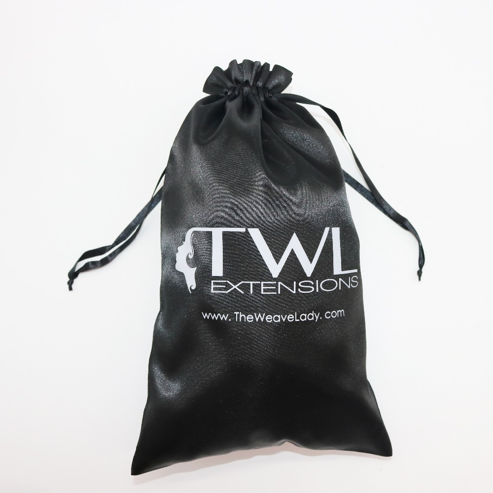 Wholesale Black Custom Silk Satin Drawstring Bags For Hair Extension