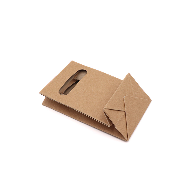 Customize Recycled Flat Bottom Patch Handle Food Kraft Brown Paper Bag With Clear Window