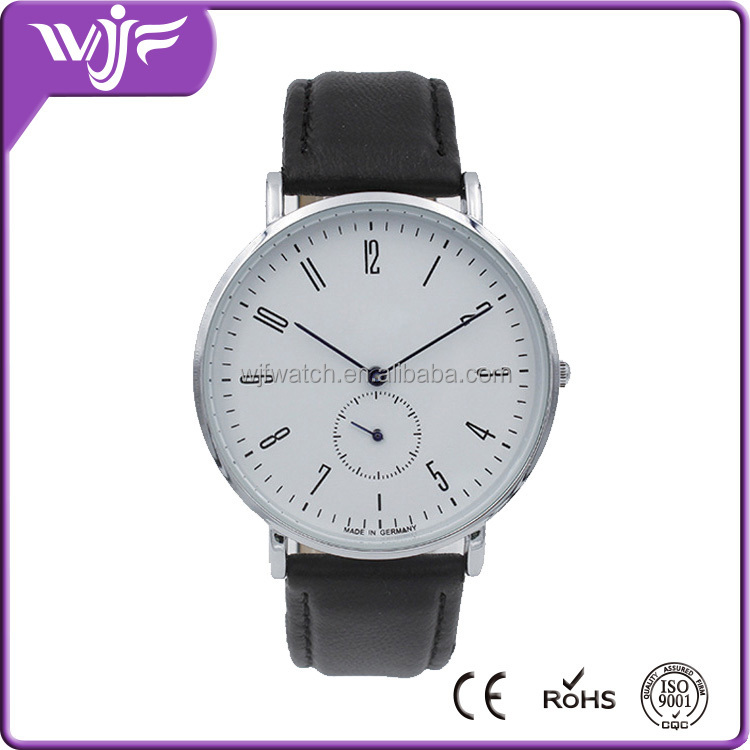 2016 Elegant leather strap two and a half hands watches,business casual men watch
