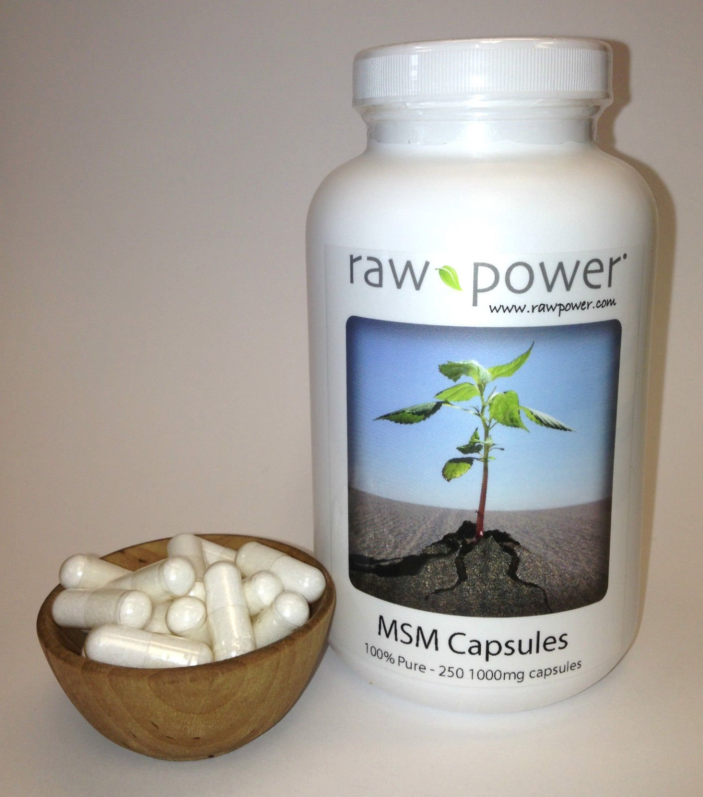 MSM Capsules, 100% pure, Raw Power (250 v-caps, 1000mg each, made in the USA!)