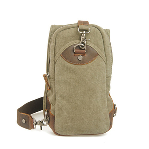 Wholesale high quality single-shoulder bag chest bag canvas and leather trim triangle sling backpack