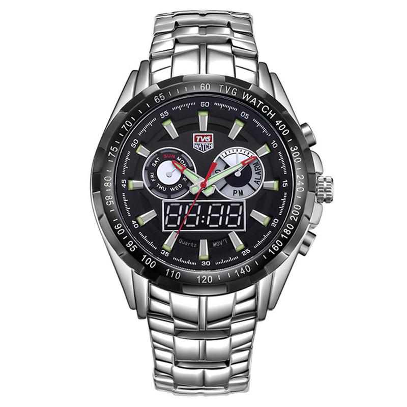 TVG 579 Men Japan Quartz+Digital Movement Watch Simple Casual Stainless Steel Band Business Watch Week Alarm Back Light
