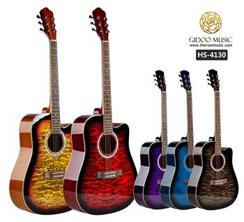 Wholesale musical instruments 41inch artwork colorful basswood linden  acoustic guitar