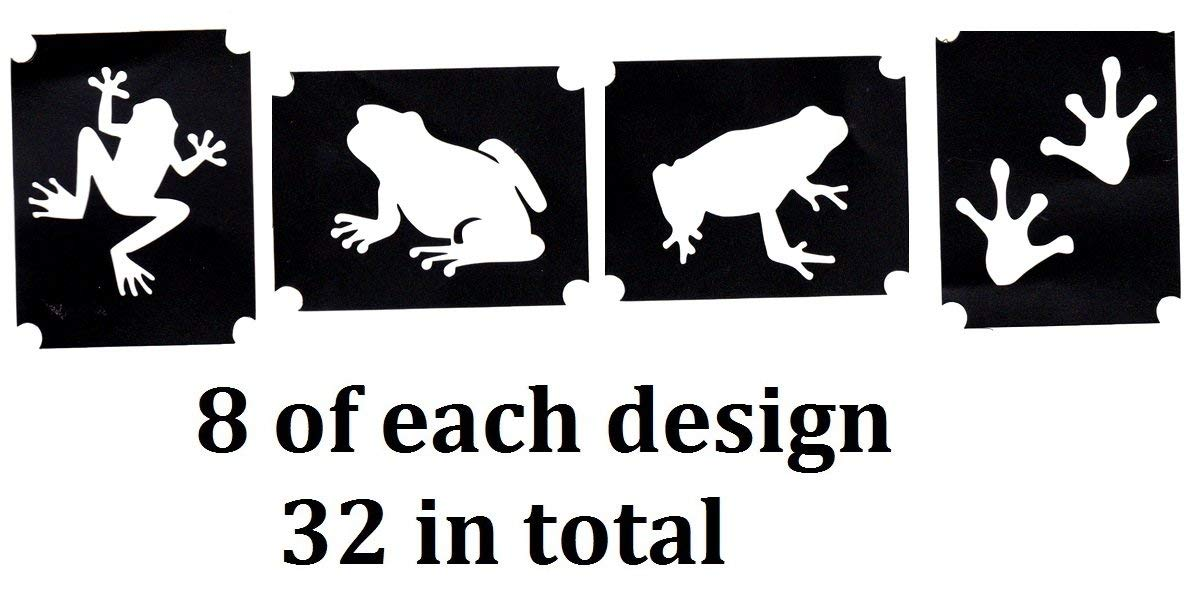 Frog Collection (32 Tattoo Glitter Airbrush Stencil Frog)