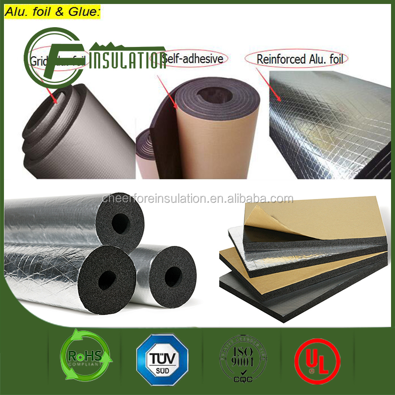 Aluminum Foil Self Adhesive Nbr/pvc Insulation Foam Sheet