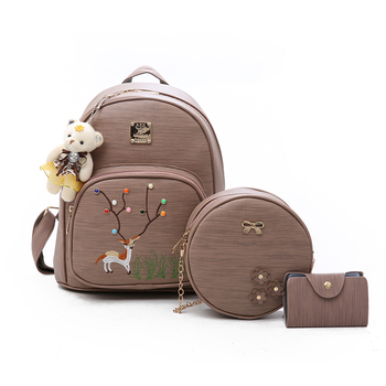 d120531011 3Pcs Set with Small Bear Women Backpacks female 2018 Teenage Girls PU  Leather Backpack School