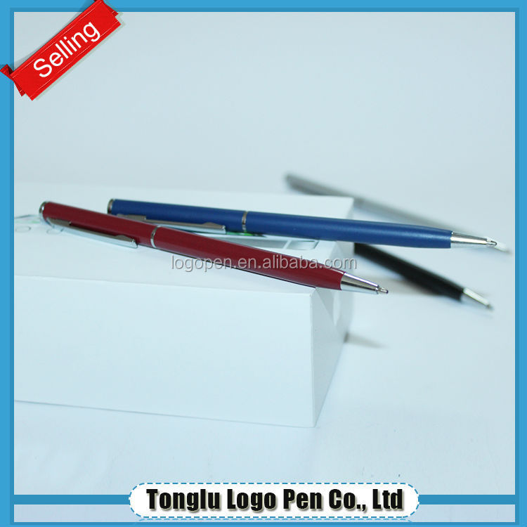 Promotional hotel pen metal twist ball pen slim