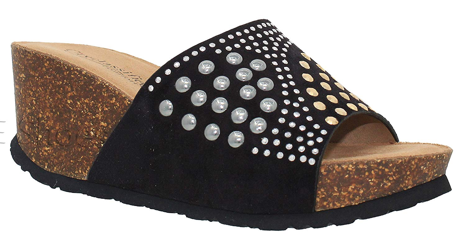 MVE Shoes Women's Rhinestone Slip On Platform - Cork Open Toe Mid Heel Wedges - Summer Slide Sandals