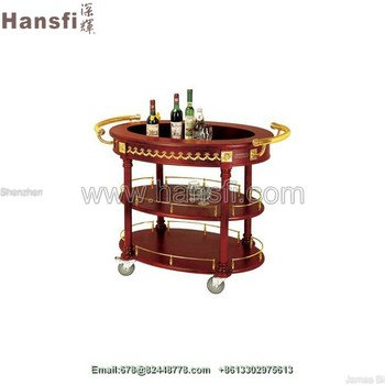 Hotel Serving Cart For Coffee Tea Spirits Liquor Wheel Stylish Clic
