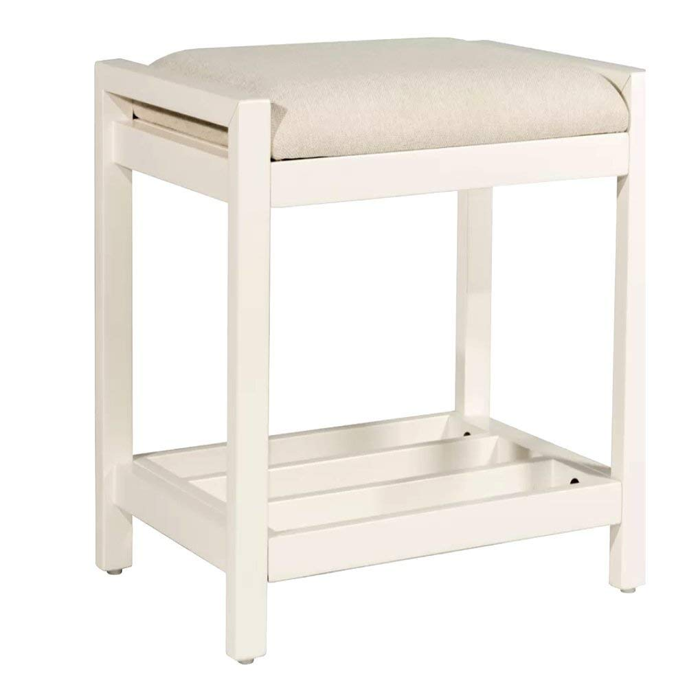 Cheap Vanity Stool, Modern Antique Contemporary Rectangular White Frame Compact Design Vanity Stool with White Seat & E-Book