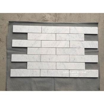 Hot 3x12 Carrara White Marble Brick Mosaic Floor Tile