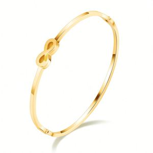 Wholesale Custom Jewelry Women Thin Stainless Steel Infinity Charm Gold Plated Bangles
