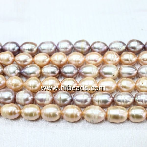 Rice freshwater pearl 11-12mm whorl pearl beads LPS0605