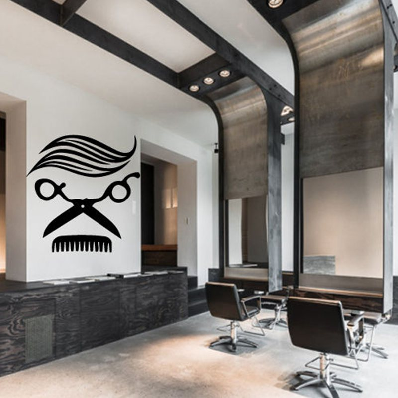 Man Barber Shop Sticker Name Chop Bread Decal Haircut Hair