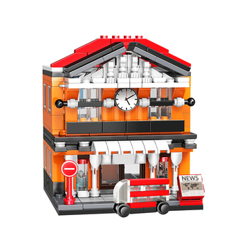 Building Block Set Railway Station Brick House Toy for Kids