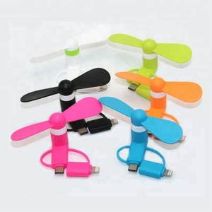 3 in 1 Travel Portable Phone Mini Fan Cooling For iPhone Type-c Android Phones