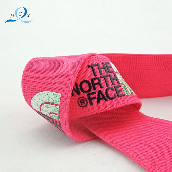Chinese supplier customized brand names pink printed elastic ribbon