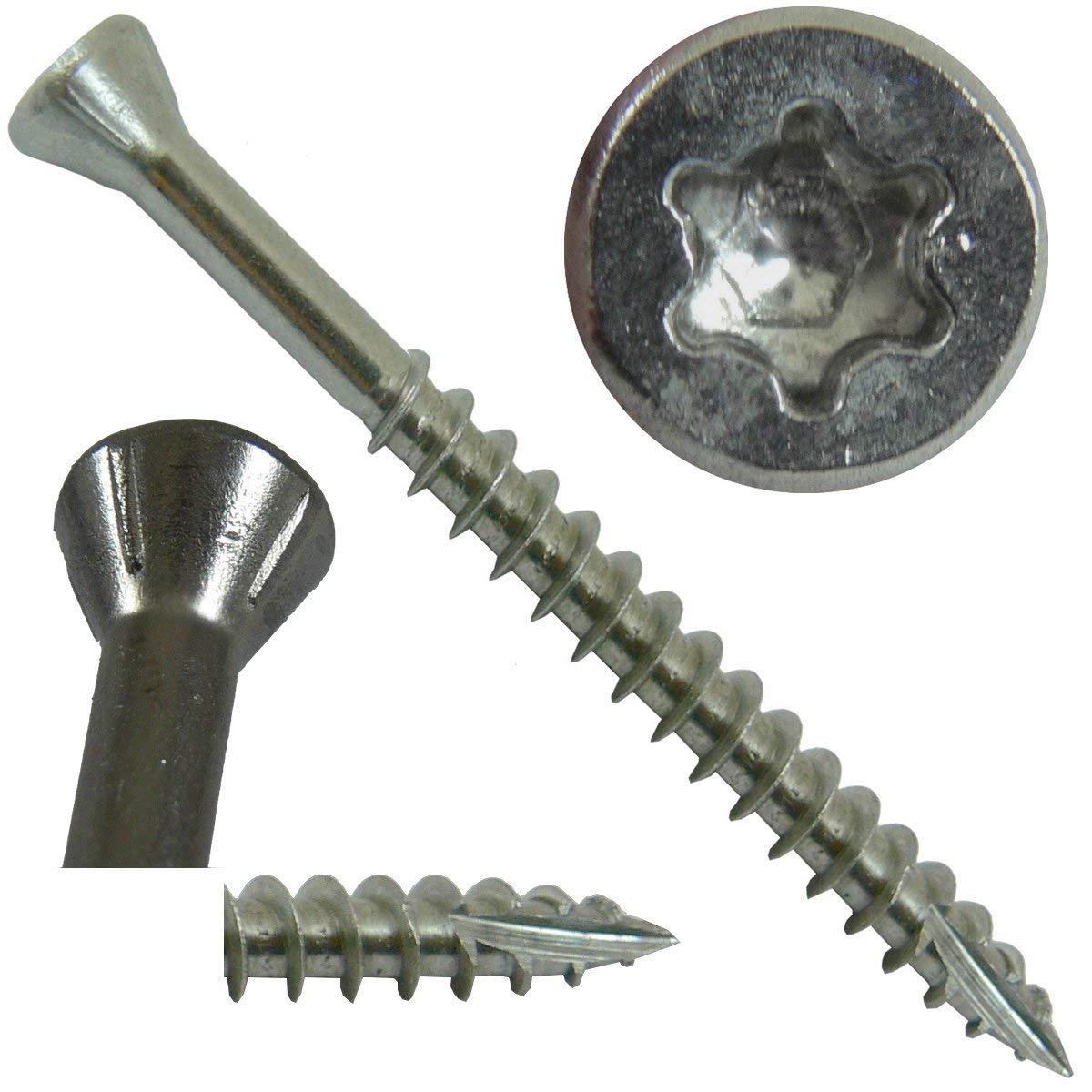 """#9 x 1-5/8"""" Silver Star Stainless Steel TRIM HEAD Screw Torx/Star Drive Head (5 Pounds) - Stainless Steel TRIM HEAD Wood Screws - 305 Stainless Steel Torx/Star Drive Wood Screws (~870 Screws)"""