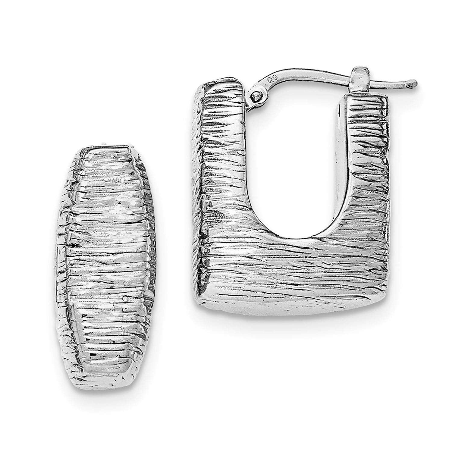 .925 Sterling Silver Rhodium-plated Polished & Textured Square Hoop Earrings