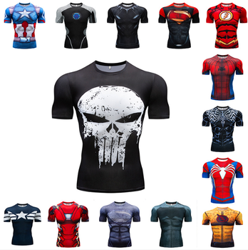 3D Digital Printing Punisher Superman Short Sleeve T-shirt U.S. Captain Sports Tight Garment Men's Speed Driving Fitness