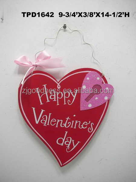 "Large Shabby Hanging Heart Red ""Happy Valentine's Day"" Wood Plaque Ornament"