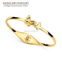 Neoglory Austrian Rhinestone Stainless Steel 14K Gold Plated Butterfly Bangles Bracelet Type Jewelry Findings For Women