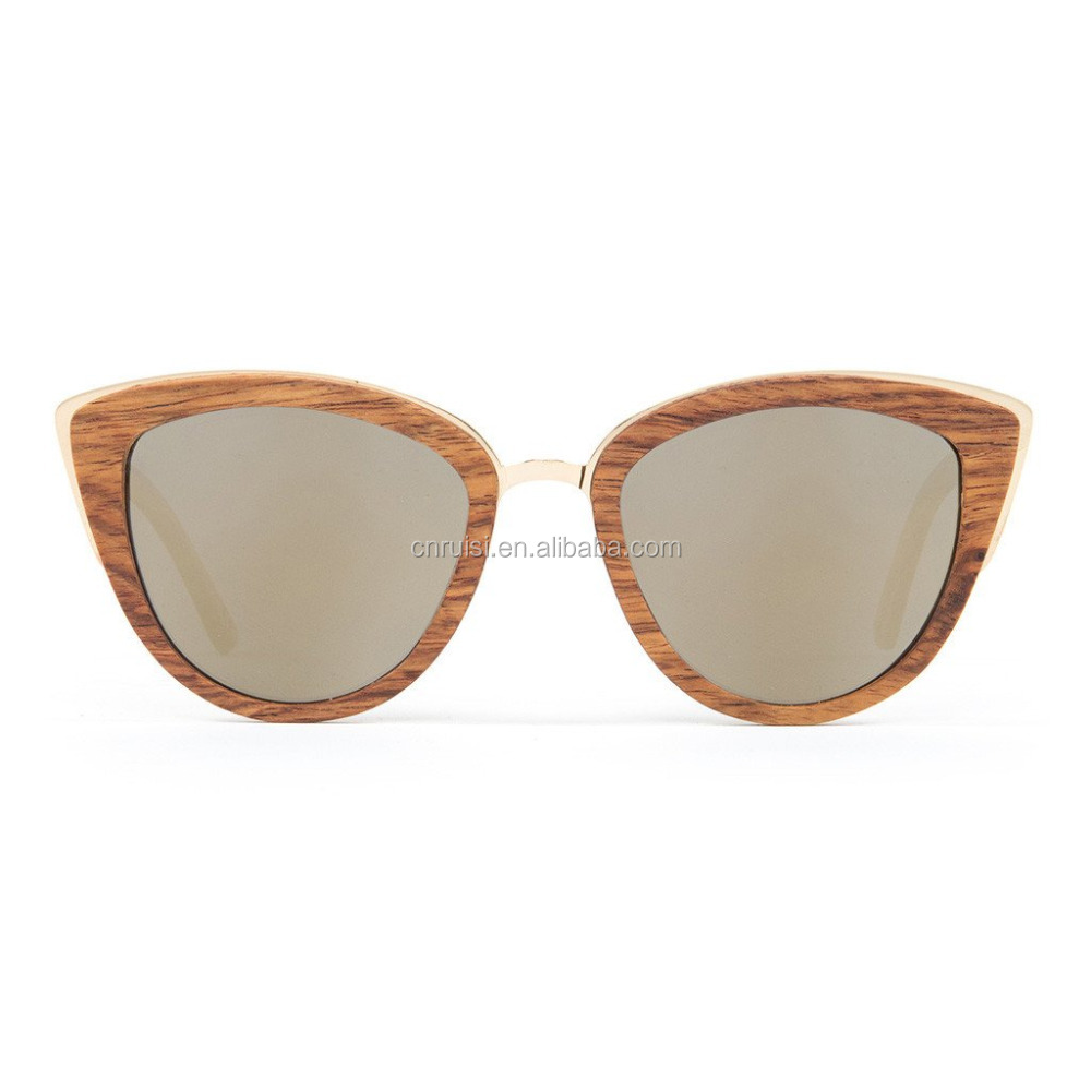 Tops for women 2016 cat eye wood sunglases