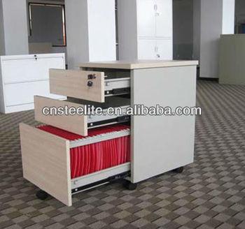 Beige Mobile 3 Drawer Pedestal Cabinet Wood Under Desk File With Wheels