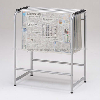 Japanese High-Quality Metal Rack Pipe Shelf Simple Newspaper Holder Stand
