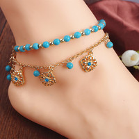 1PC New Vintage Women Ankle Bracelets Bohemian Foot Jewelry Turquoise Beads Anklets Wholesale