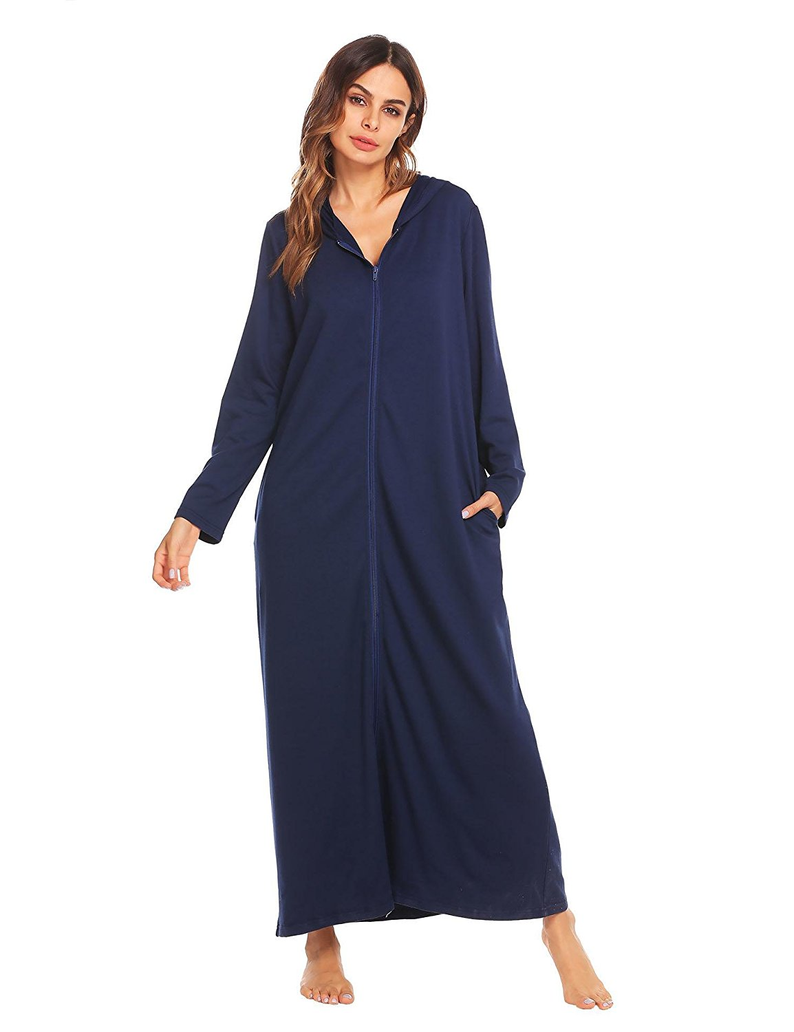 08b51c651d Get Quotations · Adoeve Hoodie Bathrobe Women s Zip Front Robes Long Full  Length Robe Ultra-Soft Nightwear S